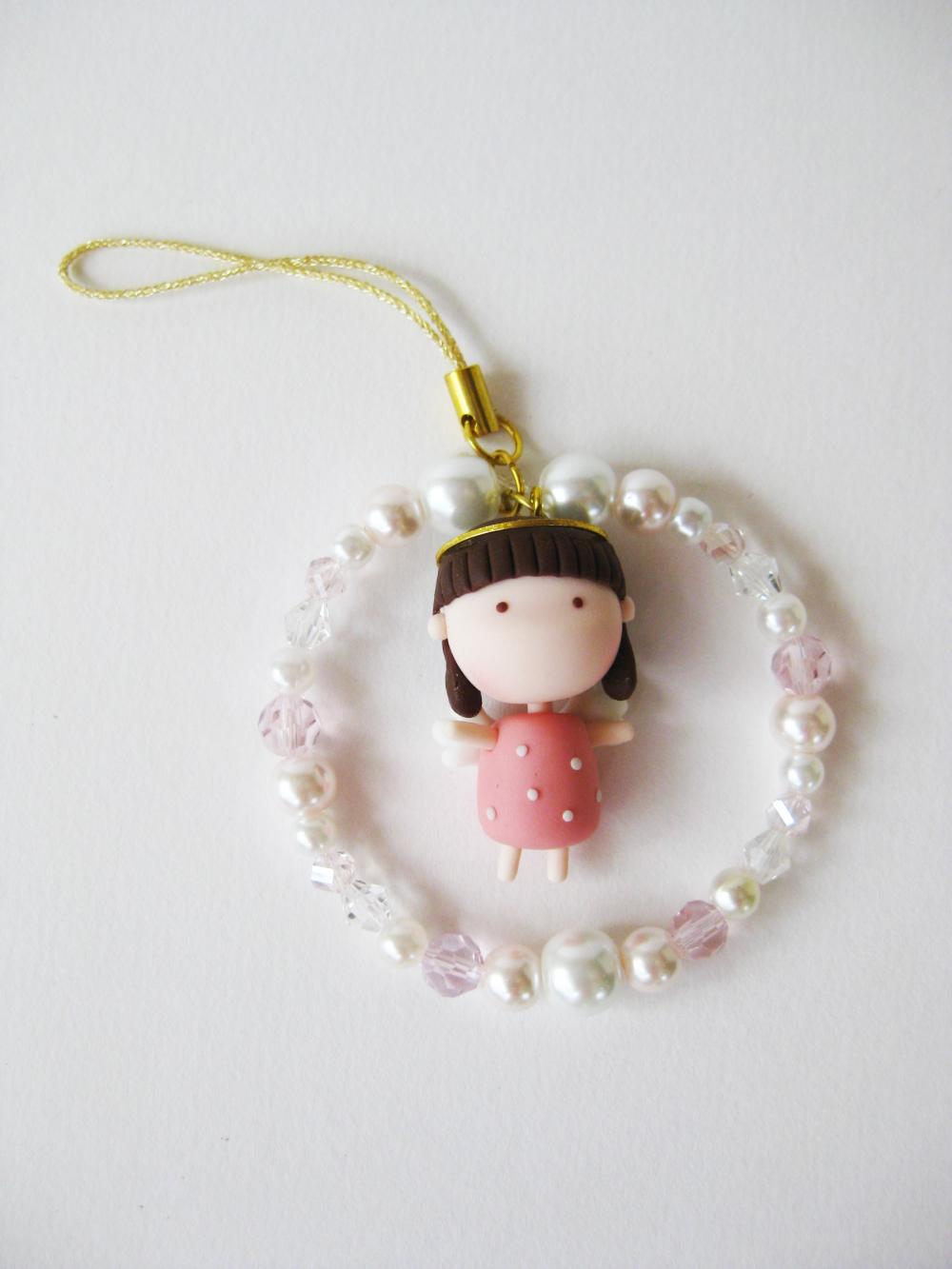  Mantou Angel Keychain Clay (Peach)
