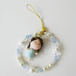 Mantou Angel Keychain Clay ( Light Blue )
