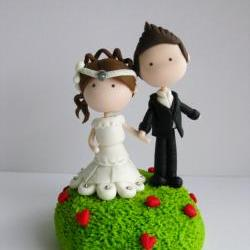  Wedding Clay Cake Topper - Garden of Love (Not Editable)